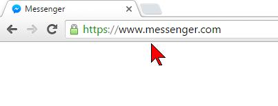 Página del Messenger de Facebook en cómo usar el Messenger de Facebook desde la PC