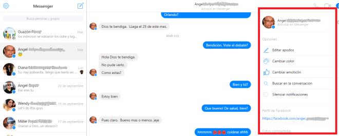 Opciones para personalizar una conversación en cómo usar el Messenger de Facebook desde la PC