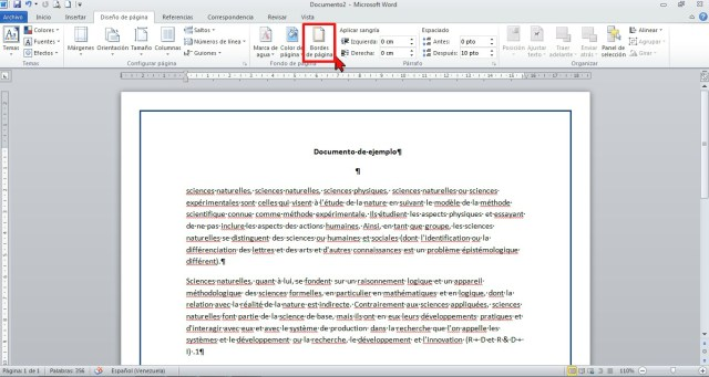 Botón Bordes de páginas en cómo colocar un borde a página de Word 2013.