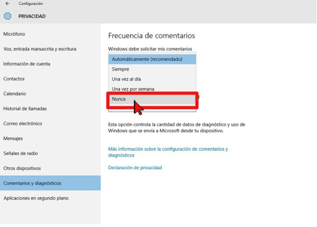Opción Nunca del menú desplegable en cómo configurar Windows para que no te muestre comentarios