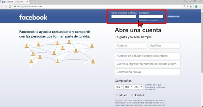 Entra tus credenciales de Facebook en cómo desbloquear a un amigo en Facebook
