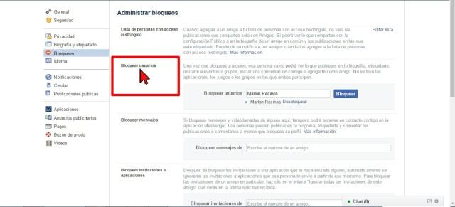 Sección Bloquear usuarios en cómo desbloquear a un amigo en Facebook