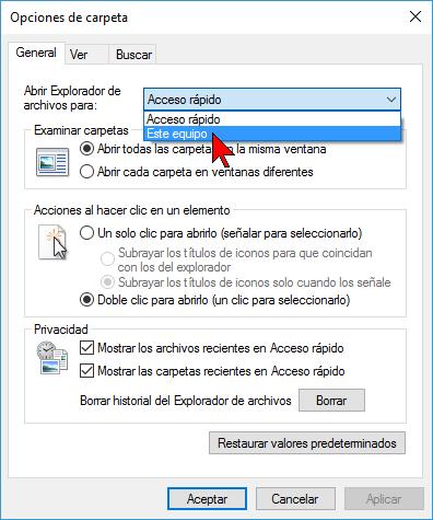 Opción Este equipo en cómo deshabilitar Acceso rápido en el Explorador de archivos en Windows 10