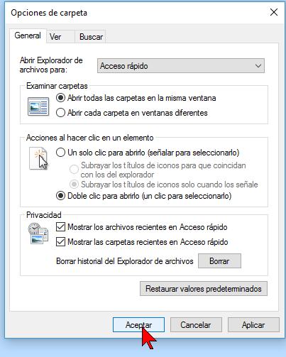 Botón Aceptar en cómo deshabilitar Acceso rápido en el Explorador de archivos en Windows 10