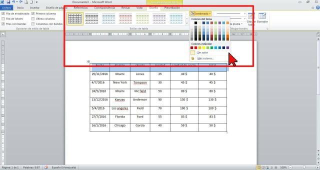 Opciones dentro de Herramientas de tabla en cómo sombrear las celdas de una tabla en Word 2013