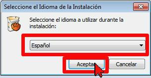 Selecciona el idioma Español en cómo usar aTube Catcher para descargar la música de un video de YouTube