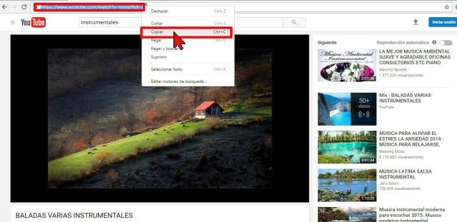 Copiando el enlace del video de YouTube en cómo usar aTube Catcher para descargar la música de un video de YouTube