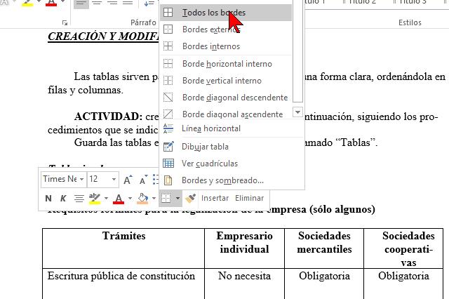 Diferentes opciones de bordes en cómo añadir o cambiar los bordes de una tabla en Word 2016
