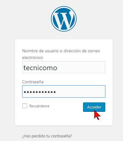 Usuario y contraseña en cómo acceder al Escritorio de WordPress