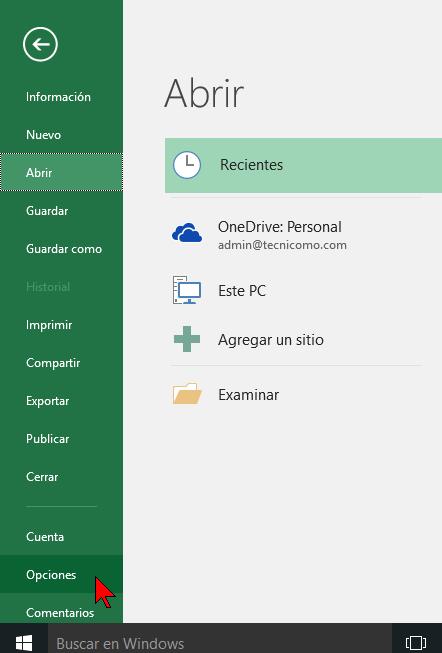 Elemento Opciones en cómo cambiar el estilo de referencia de las celdas en Excel 2016