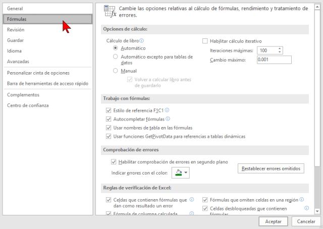 Opción Fórmulas en cómo cambiar el estilo de referencia de las celdas en Excel 2016