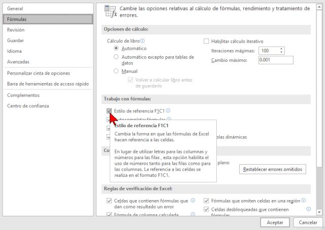 Casilla Estilo de referencia en cómo cambiar el estilo de referencia de las celdas en Excel 2016