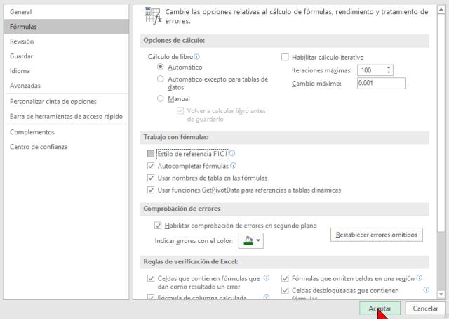 Botón Aceptar en cómo cambiar el estilo de referencia de las celdas en Excel 2016