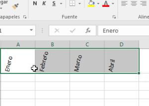 Cómo cambiar la orientación de las celdas en Excel 2016