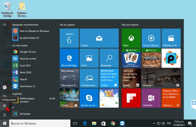 Botón Configuración en cómo desactivar la sincronización del fondo de pantalla y el tema en Windows 10.