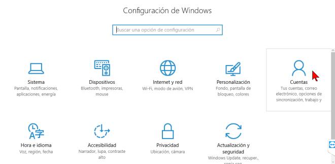 Botón Cuentas en cómo desactivar la sincronización del fondo de pantalla y el tema en Windows 10.