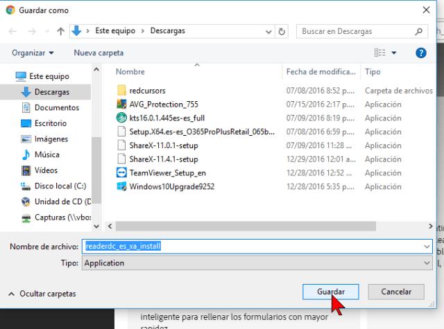 Botón Guardar en cómo descargar e instalar Adobe Acrobat PDF Reader en español