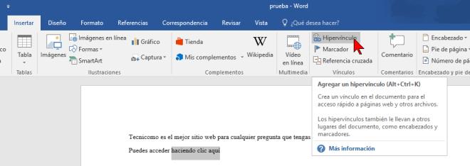 Opción Hipervínculo en cómo hacer enlaces a páginas web en Word 2016