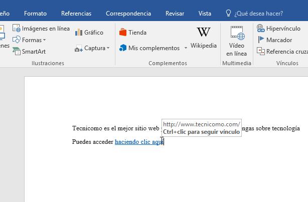 Ejemplo de un hipervínculo en cómo hacer enlaces a páginas web en Word 2016