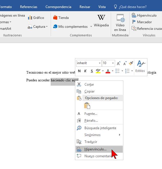 Usando el menú contextual en cómo hacer enlaces a páginas web en Word 2016