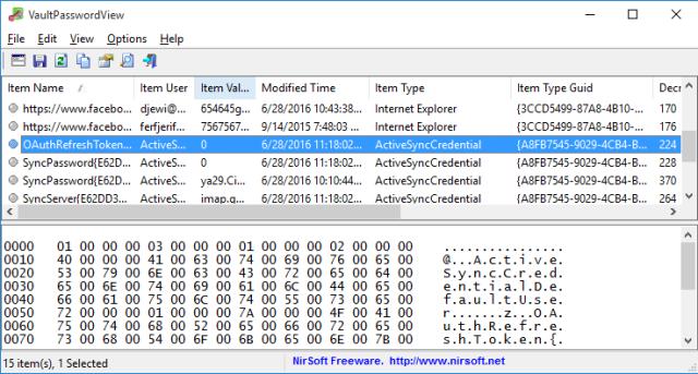 Ejemplo del programa VaultPasswordView en cómo hallar contraseñas usando el Administrador de credenciales de Windows 10