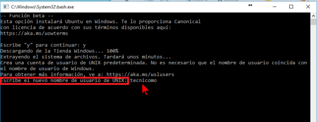 Seleccionando el nombre de usuario de UNIX en cómo instalar el Linux Bash Shell en Windows 10