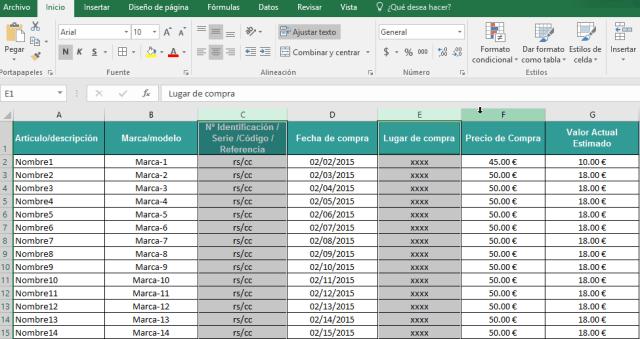 Seleccionando columnas separadas en cómo ocultar y mostrar columnas en Excel 2016