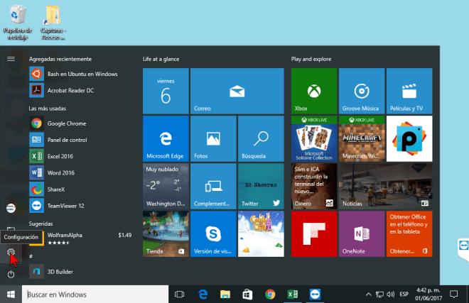Botón Configuración en cómo personalizar los botones del Centro de acciones en Windows 10