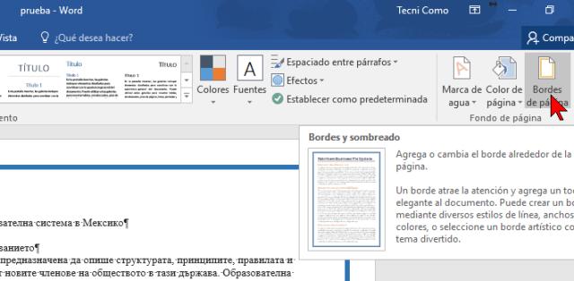 Botón Bordes de página en cómo ponerle un borde a una página de Word 2016