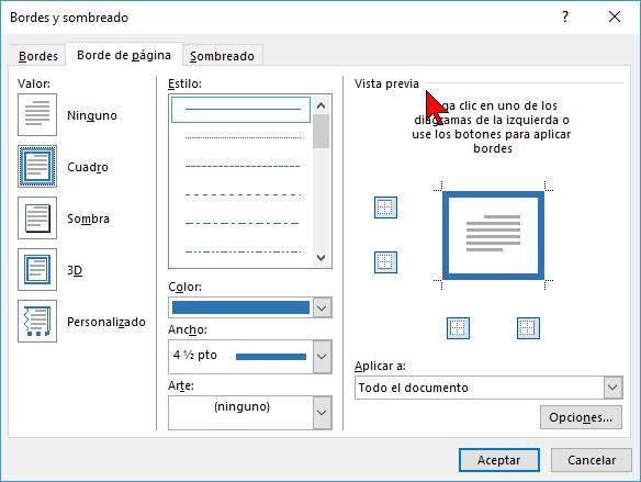 Vista previa en cómo ponerle un borde a una página de Word 2016