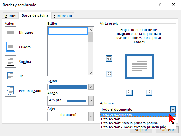 Opciones de Aplicar a en cómo ponerle un borde a una página de Word 2016