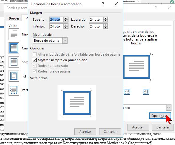 Opciones avanzadas en cómo ponerle un borde a una página de Word 2016