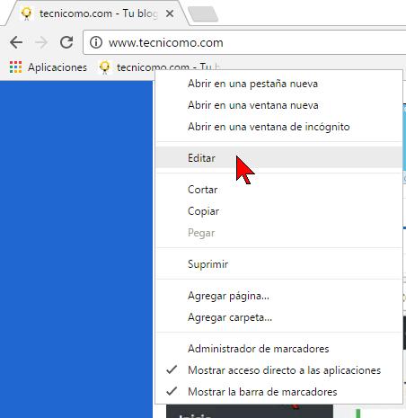 Opción Editar en cómo reiniciar Chrome rápidamente usando un marcador