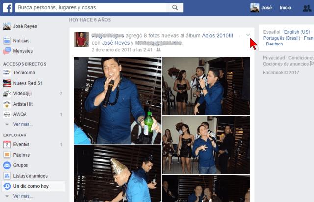 """Flechita para mostrar menú contextual en cómo usar """"Un día como hoy"""" de Facebook para borrar tu pasado"""