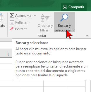 Botón Buscar y seleccionar en cómo buscar texto en Excel 2016
