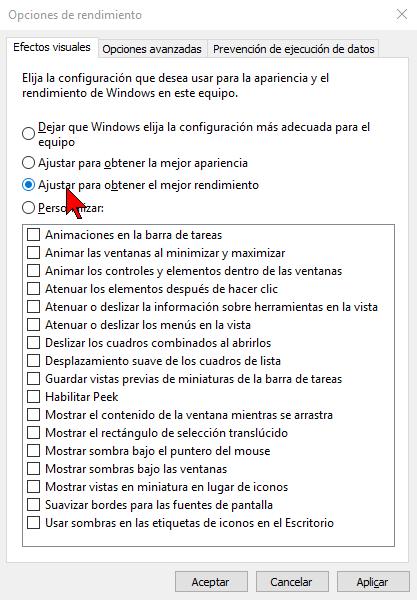 Opción Ajustar para obtener el mejor rendimiento en cómo ajustar los efectos visuales para obtener mejor rendimiento de Windows 10