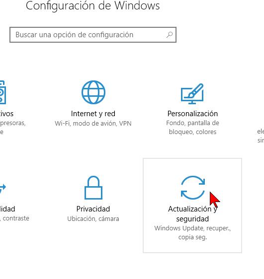 Opciones de Actualización y seguridad de Windows 10