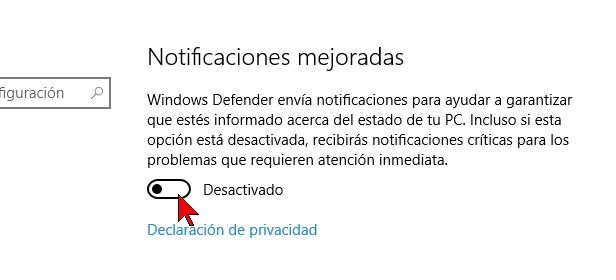Notificaciones mejoradas desactivadas