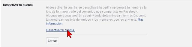 Enlace Desactivar tu cuenta de Facebook