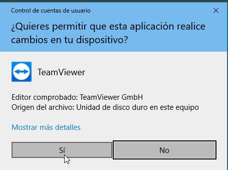 Para permitir a TeamViewer realizar cambios en tu dispositivo en cómo descargar e instalar TeamViewer en español