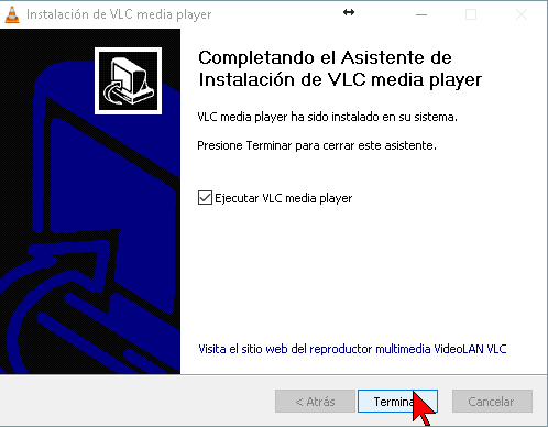 Botón Terminar en cómo descargar e instalar el reproductor VLC media player en español