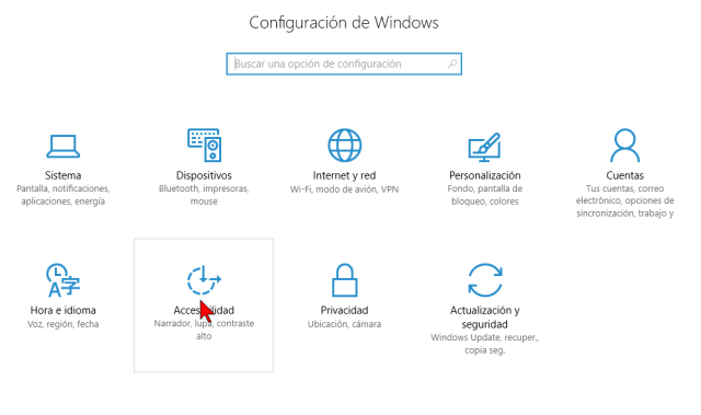 Opciones de Accesibilidad de la Configuración de Windows