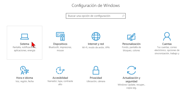 Opción Sistema de la Configuración de Windows en cómo deshabilitar las notificaciones en Windows 10