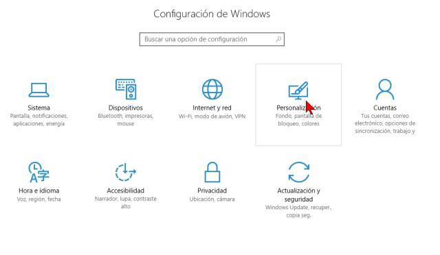 Opción Personalización en cómo deshabilitar los efectos de transparencia en Windows 10