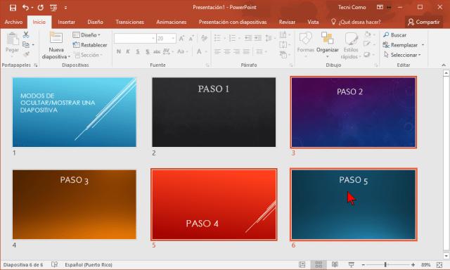 Seleccionando las diapositivas en cómo ocultar una diapositiva de PowerPoint 2016 sin borrarla