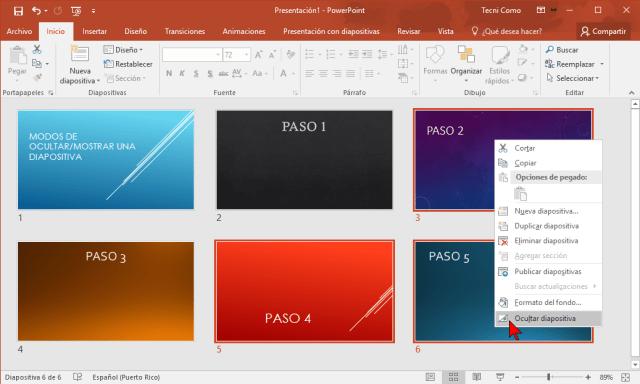 Menú contextual opción Ocultar diapositiva en cómo ocultar una diapositiva de PowerPoint 2016 sin borrarla