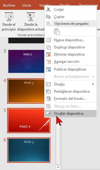 Menú contextual normal en cómo ocultar una diapositiva de PowerPoint 2016 sin borrarla