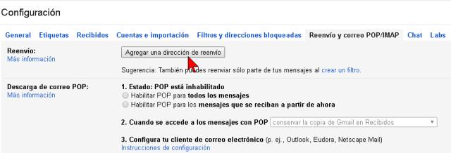 Botón Agregar una dirección de reenvío en cómo reenviar tus correos electrónicos de Gmail a otra cuenta