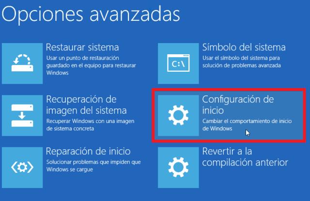 Configuración de inicio en cómo reiniciar Windows 10 en modo seguro