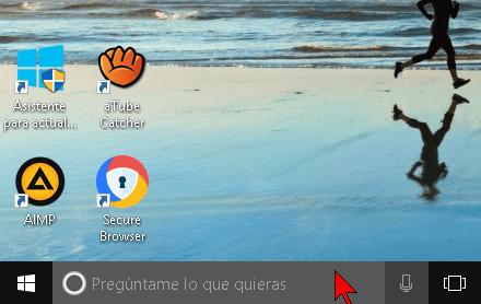 Cuadro de búsqueda con Cortana en Windows 10